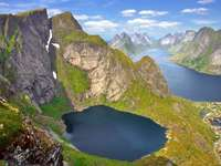 Landschap van de Lofoten-eilanden (Noorwegen)