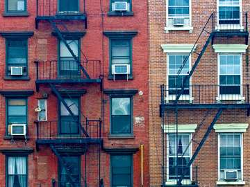 Fire escape stairs in New York buildings (USA)