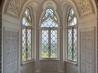 Bay window in the Pena Palace in Sintra (Portugal)