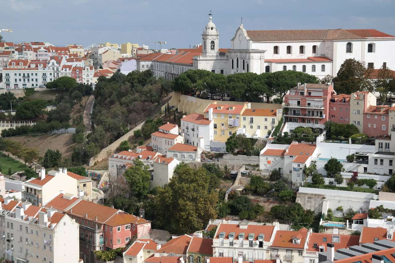 Igreja da Graça church seen from the Castle of St. George in Lisbon (Portugal) - The Castle of Saint George is one of the landmarks of Alfama, the historical district of Lisbon. The medieval complex of defensive walls located on the hill,  together with a small archaeological muse (9×6)