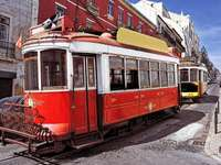 Historic trams in Lisbon (Portugal)