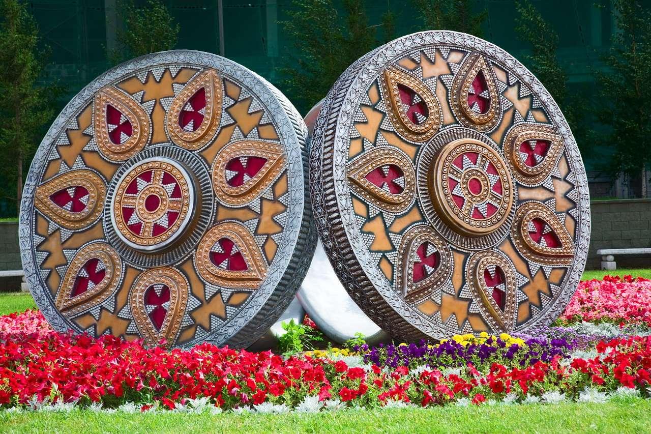 Sculpture in the shape of two rings in Astana (Kazakhstan)