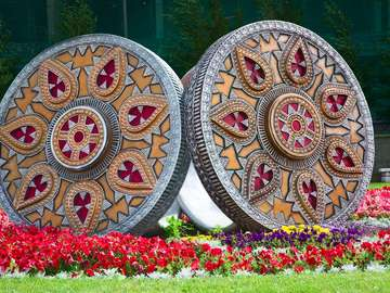 Sculpture in the shape of two rings in Astana (Kazakhstan)