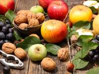 Nuts and apples