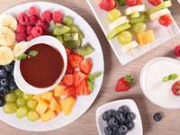 Fruit with chocolate sauce