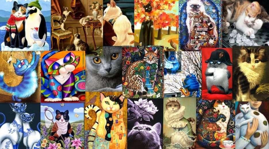 I gatti nella pittura 3 puzzle da foto