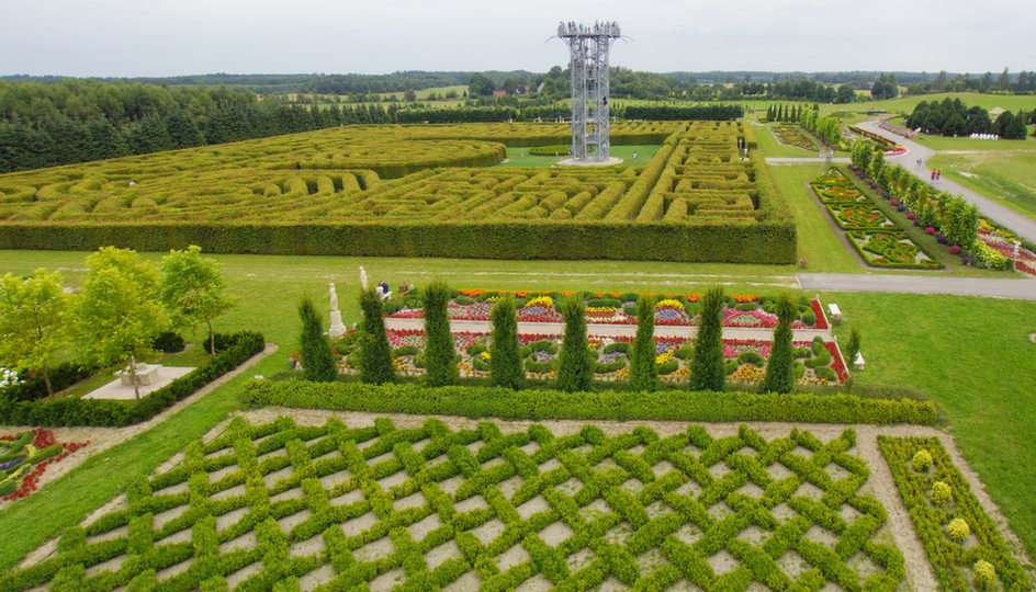 Labyrinth and Tower in the Hortulus Spectabilis Gardens