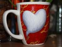 kubek z sercem