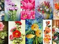 Bloemen - schilderen puzzel van foto