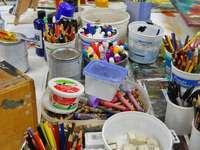 Inside an artist's studio