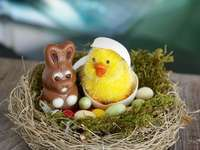 Easter bunny and chicken.