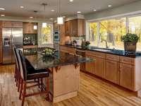 Wooden Floor & Kitchen Cabinets