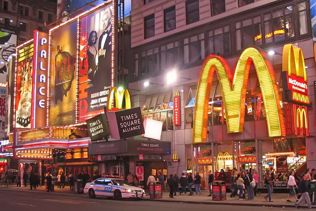 New York - McDonald's a New York di notte (20×14)