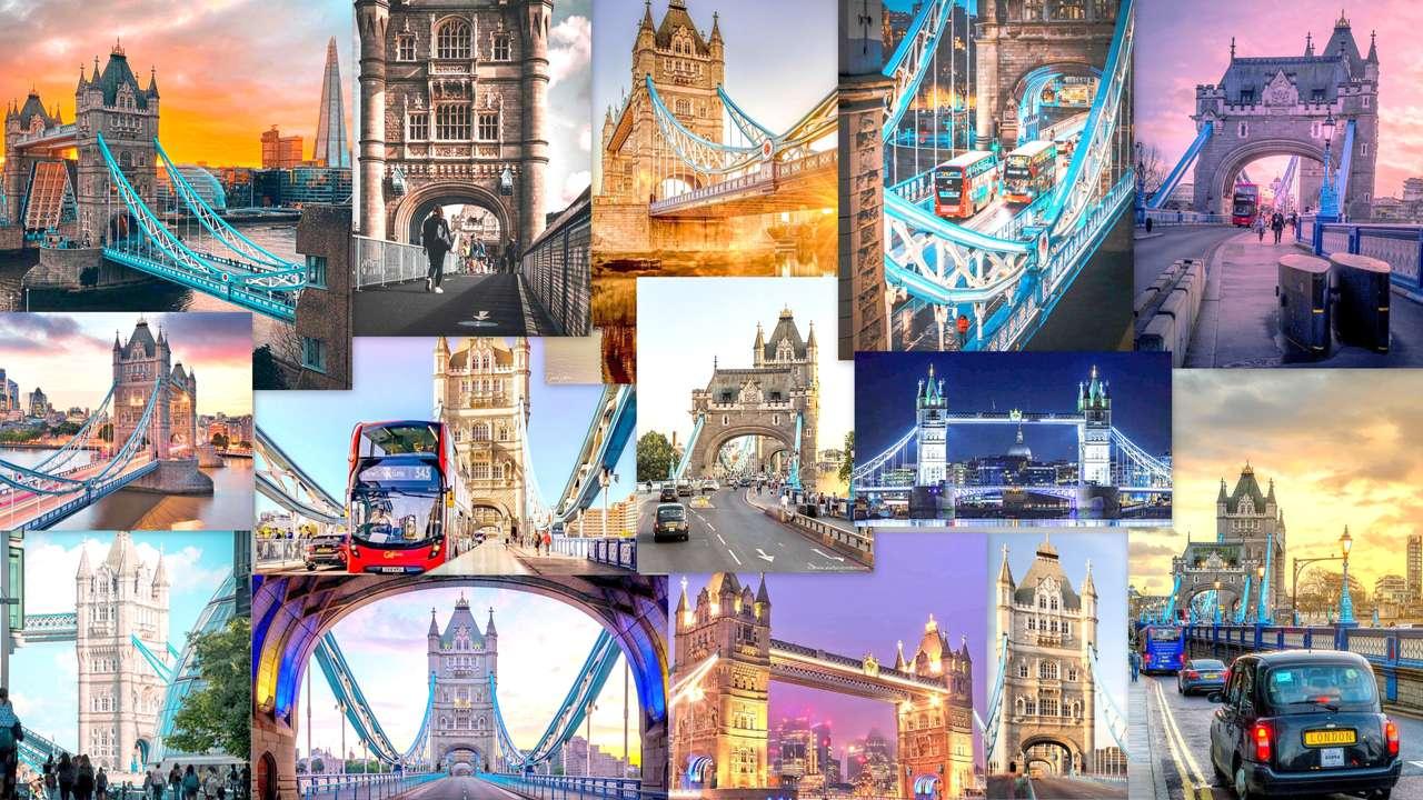 COLLAGE DE LONDRES - ZESTAW ZDJEĆ PRZEDSTAWIAJĄCYCH NAJSŁYNNIEJSZY MOST W LONDYNIE TOWER -BRIDGE (30×17)
