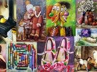 Collage av bilder pussel från foto