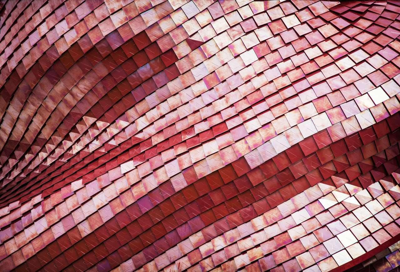 Telhado vermelho futurista do pavilhão da exposição