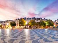 Lissabon-Panorama am Rossio-Platz, Portugal