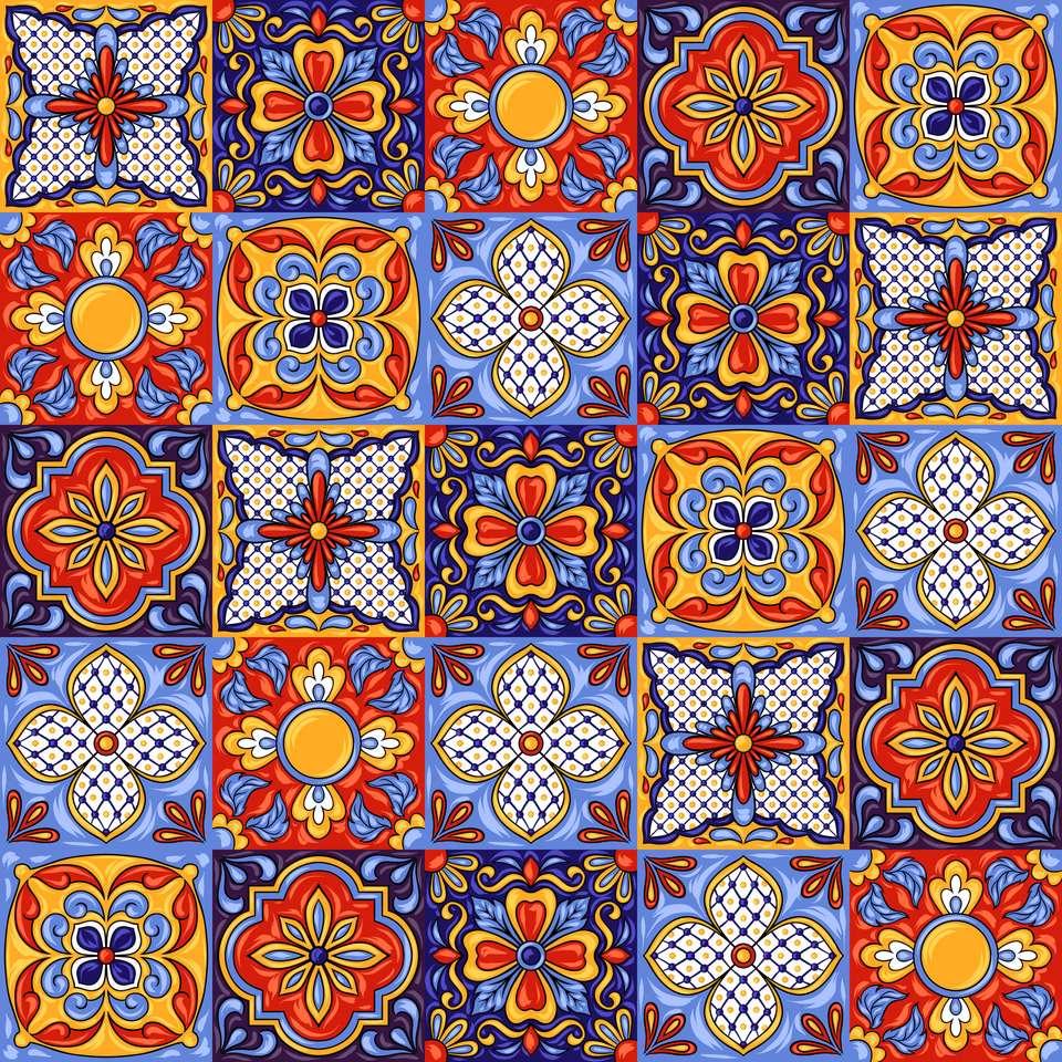 Patrón de baldosas de cerámica de talavera mexicana rompecabezas