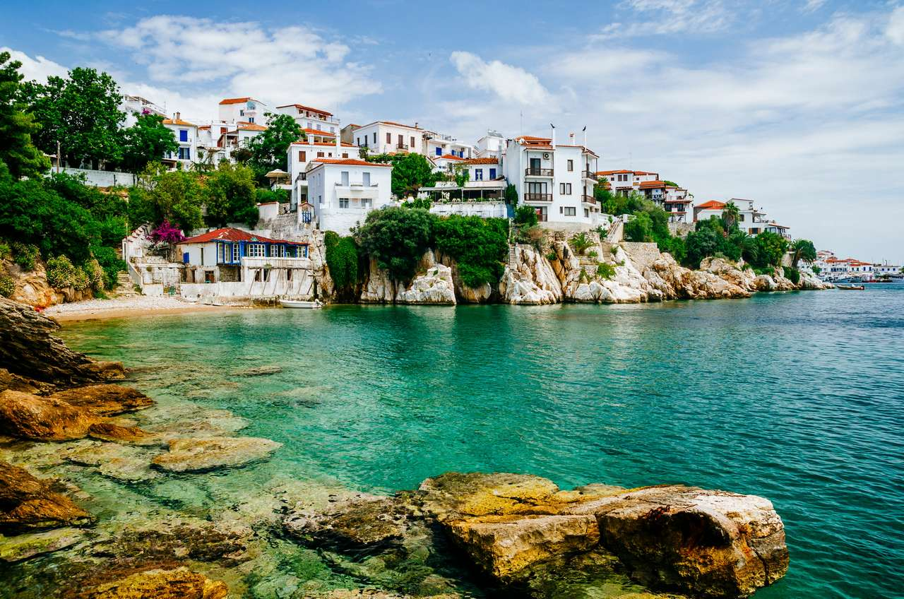 Old town view of Skiathos island, Sporades, Greece. puzzle from photo